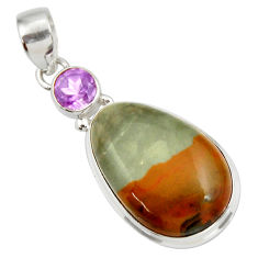 Clearance Sale- 925 silver 19.23cts natural yellow rocky butte picture jasper pendant d41964