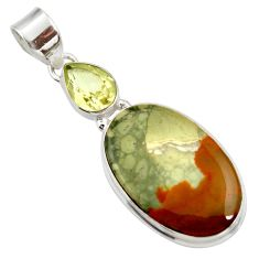 Clearance Sale- 925 silver 18.70cts natural yellow rocky butte picture jasper pendant d41967