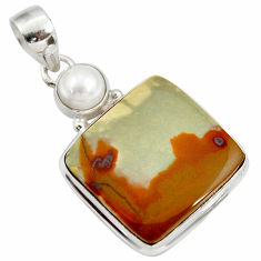 925 silver 20.88cts natural yellow rocky butte picture jasper pendant d41970