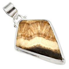 Clearance Sale- 925 silver 26.14cts natural yellow schalenblende polen fancy pendant d41955