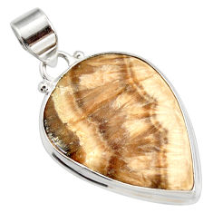 Clearance Sale- 925 silver 25.00cts natural yellow schalenblende polen pear pendant d41958