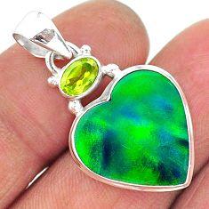 silver 10.25cts northern lights aurora opal (lab) green peridot pendant t16966