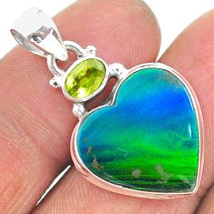 silver 9.74cts northern lights aurora opal (lab) green peridot pendant t16988