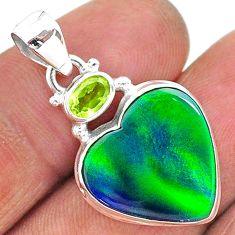 silver 9.34cts northern lights aurora opal (lab) green peridot pendant t16994