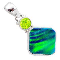 silver 5.06cts northern lights aurora opal (lab) green peridot pendant t25972
