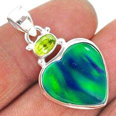 silver 9.77cts northern lights aurora opal (lab) heart peridot pendant t16963
