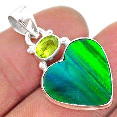 silver 9.34cts northern lights aurora opal (lab) heart peridot pendant t16976