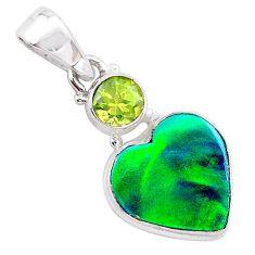 silver 4.07cts northern lights aurora opal (lab) heart peridot pendant t25975