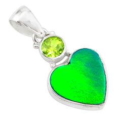 silver 4.07cts northern lights aurora opal (lab) heart peridot pendant t25998
