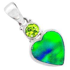 silver 3.65cts northern lights aurora opal (lab) heart peridot pendant t26009