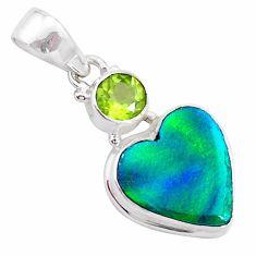 silver 4.05cts northern lights aurora opal (lab) heart peridot pendant t26018