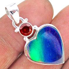 9.34cts northern lights aurora opal (lab) heart red garnet pendant t17009