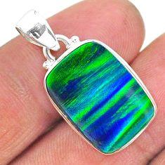 silver 8.38cts northern lights aurora opal (lab) octagan pendant jewelry t17010