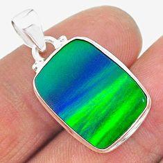silver 8.86cts northern lights aurora opal (lab) octagan pendant jewelry t17028