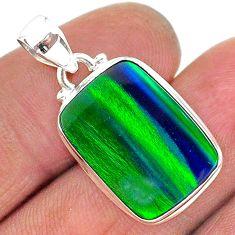 silver 7.78cts northern lights aurora opal (lab) octagan pendant jewelry t17029