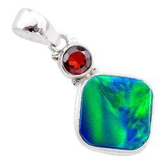 4.46cts northern lights aurora opal (lab) red garnet pendant jewelry t26004
