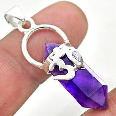 925 silver 11.53cts om symbol double pointer natural amethyst pendant t44288