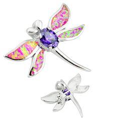 925 silver pink australian opal (lab) dragonfly brooch pendant jewelry c15720