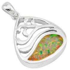 925 silver pink australian opal (lab) enamel pendant jewelry a74254 c24391