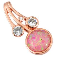 925 silver pink australian opal (lab) topaz 14k rose gold pendant a61735 c15451