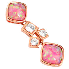 925 silver pink australian opal (lab) topaz 14k rose gold pendant a61755 c15252
