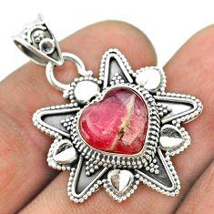 925 silver 5.38cts pink rhodochrosite inca rose (argentina) heart pendant t56096