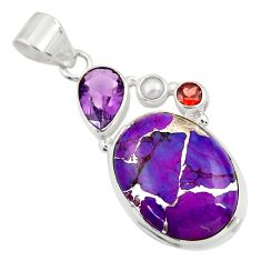 925 silver 19.72cts purple copper turquoise amethyst pearl pendant d41791