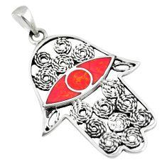 925 silver 4.47gms red sponge coral hand of god hamsa pendant a88356 c13736