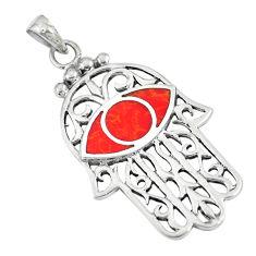 925 silver 5.48gms red sponge coral hand of god hamsa pendant a88419 c13722
