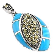 925 silver 7.53cts blue sleeping beauty turquoise marcasite pendant c16753