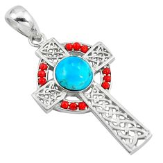 925 silver southwestern blue copper turquoise holy cross pendant c10771
