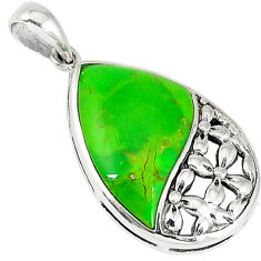 925 silver southwestern green copper turquoise fancy pendant jewelry c10509