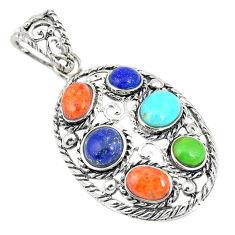 925 silver southwestern multi color copper turquoise pendant jewelry c10409