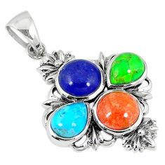 925 silver southwestern multi color copper turquoise pendant jewelry c10427