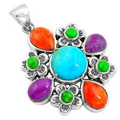 925 silver southwestern multi color copper turquoise pendant jewelry c10449