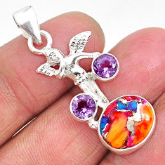 925 silver 6.36cts spiny oyster arizona turquoise amethyst angel pendant r93308