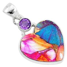 925 silver 12.68cts spiny oyster arizona turquoise amethyst heart pendant r93448
