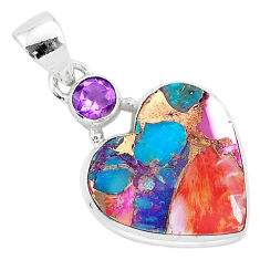 925 silver 13.15cts spiny oyster arizona turquoise amethyst heart pendant r93452