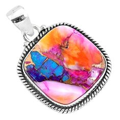 925 silver 15.18cts spiny oyster arizona turquoise cushion pendant r93510