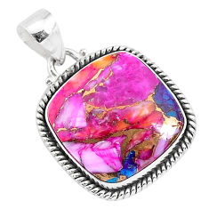 925 silver 15.08cts spiny oyster arizona turquoise cushion pendant r93516