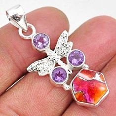 925 silver 6.33cts spiny oyster arizona turquoise dragonfly pendant r93285