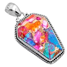 925 silver 17.22cts spiny oyster arizona turquoise fancy coffin pendant r63479