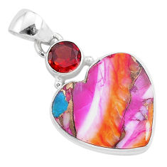 925 silver 11.57cts spiny oyster arizona turquoise garnet heart pendant r93455