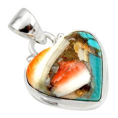 925 silver 12.58cts spiny oyster arizona turquoise heart pendant r33940