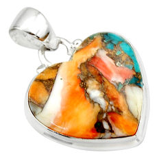 925 silver 16.20cts spiny oyster arizona turquoise heart pendant r33952
