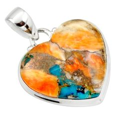 925 silver 19.60cts spiny oyster arizona turquoise heart pendant r33958