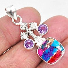 925 silver 8.21cts spiny oyster arizona turquoise holy cross pendant r93318