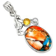 925 silver 16.70cts spiny oyster arizona turquoise pearl seahorse pendant d41767