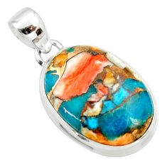925 silver 14.72cts spiny oyster arizona turquoise pendant r34504