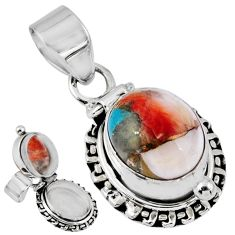 925 silver 5.30cts spiny oyster arizona turquoise poison box pendant r55629